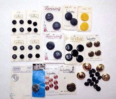 Vintage Buttons Lot Sewing New Black Gray Plastic Yellow Misc. 50+ Crafts
