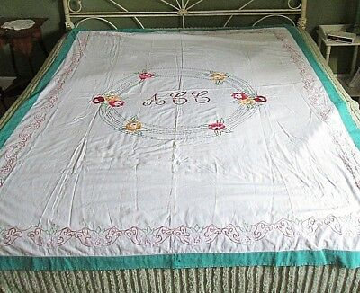 "Vintage Hand Embroidered Cotton Coverlet Bedspread 75"" x 85"""