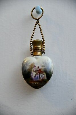 Chatelaine Antique Porcelain Heart Shape Perfume Scent Bottle with Lovers Scene