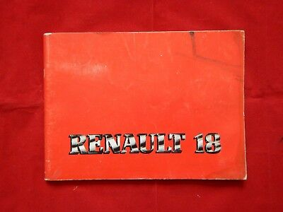Genuine 1978 Renault 18  Driving And Maintenance Handbook Owners Manual