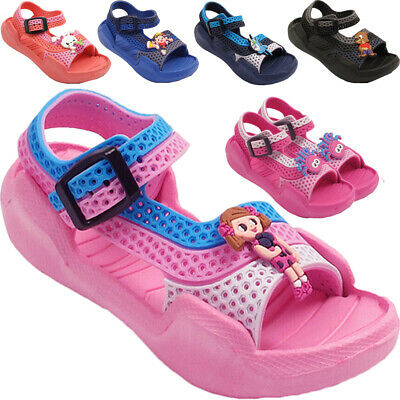 New Kids Girls Boys Infant Contrast Colors Clogs Sandals Strap Slippers Shoes UK