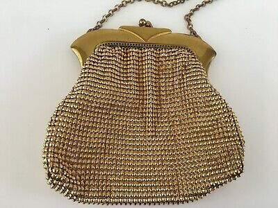 Vintage Retro signed Whiting And Davis Mesh Gold Evening Coin Purse Bag