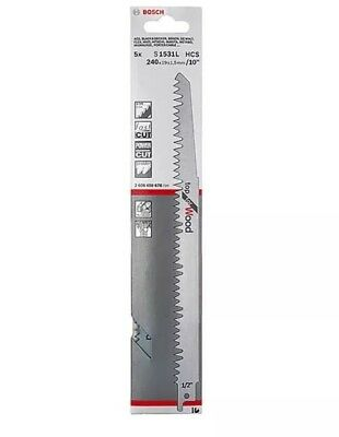 "Bosch S1531L Reciprocating Saw Blades, Top For Wood. 240mm / 10"". Pack Of 5."