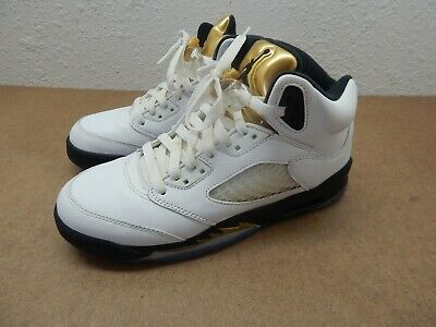 separation shoes 7c4df bdd6e Nike Air Jordan 5 Retro GS Olympic Gold Coin White Black 440888-133 Size 5.5
