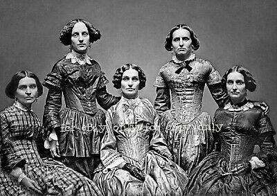 Vintage Old Photo Print 1860's of Victorian Sisters Women Hoop Dress Fashion