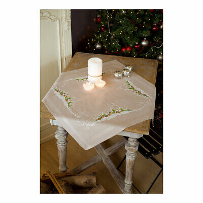 Vervaco Embroidery Kit Tablecloth | Village in the Snow on Beige | 80x80cm