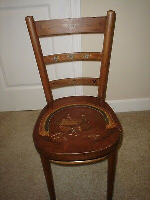Antique Thonet Bentwood Cafe/Parlor Chair With Folk Art Painting By Jane McDowel