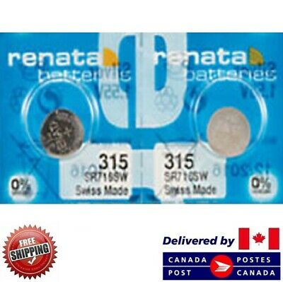 2 PCS Renata 315 Watch Batteries 0% MERCURY SR716SW Swiss Made CDN SELLER