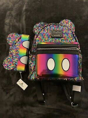 d1a418c0975 Disney Parks Loungefly Rainbow Mickey Sequin Mini Backpack And Wallet Set ~  NWT