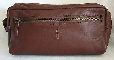 MARK & GRAHAM Chocolate Leather EVERYDAY TRAVEL POUCH Cosmetic Toiletry Bag