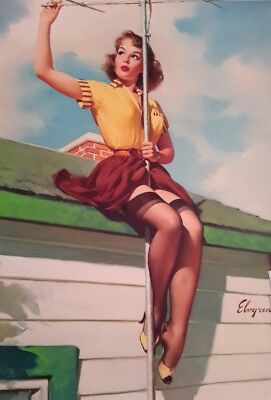 """VINTAGE PIN UP GIRL AERIAL GLAMOUR GIL ELVGREN 7x5"""" PICTURE PRINT WALL ART"""