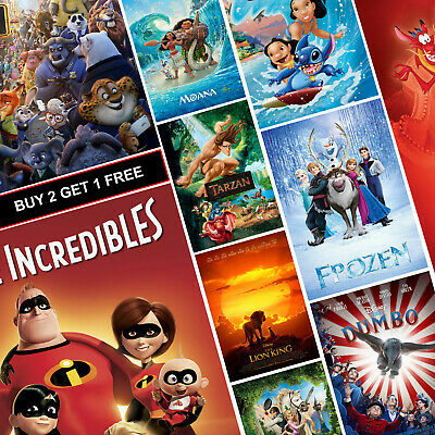 Best Disney Movie Posters A4 A3 HD Prints Frozen Zootopia Moana The Incredibles