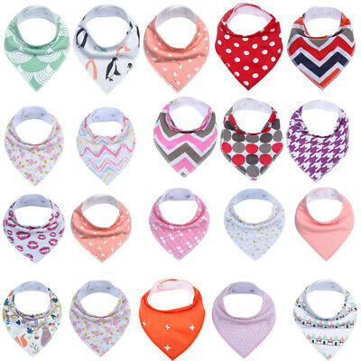 6Pcs Cute Triangle Scarf Saliva Towel Bibs Baby Cotton Drooling Teething Bandana
