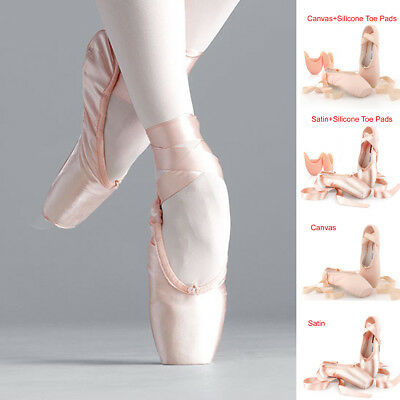 New Ballet Pointe Shoes Children Kids Girls Adults Lace-Up Satin Dance Gymnastic