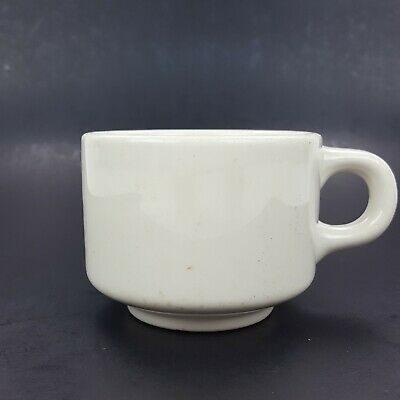 2 STACKABLE COFFEE Cups Homer Laughlin China, Off White