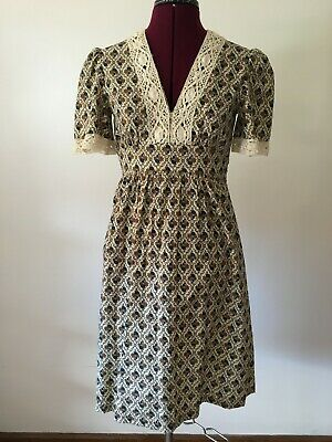 Vintage Prairie style handmade floral lace detail dress with tie waist