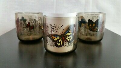3 VTG Anchor Hocking Monarch Butterfly Smoke Colored On The Rocks Glasses