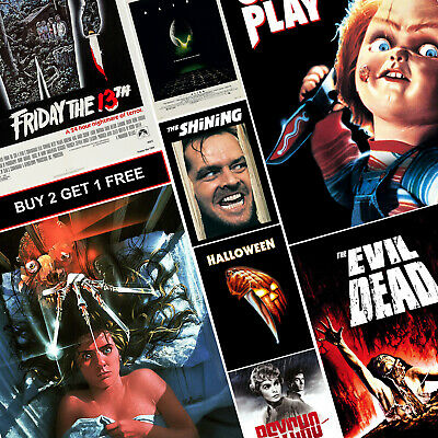 Classic Horror Movie Posters A4 HD Prints Art Alien Halloween Psycho Childs Play