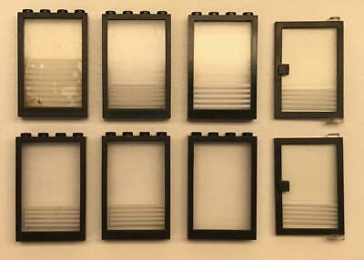 8 Lego 1x4x5 Doors Windows Lot: black frame, clear glass, town police Vintage