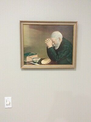 """Eric Enstrom Grace Old Man Praying Religious Daily Bread Picture Framed 22""""X18"""