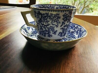 Antique Minton Fibre Blue Seaweed Cup and Saucer G2702
