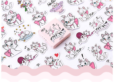 1 Box Assorted Marie White Cat Sticker / Bag Sealer / DIY Scrapbook Decor