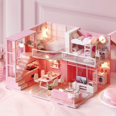 DIY Miniature Loft Dollhouse Kit 3D Pink Wooden House Room Model Girl Toy Gift