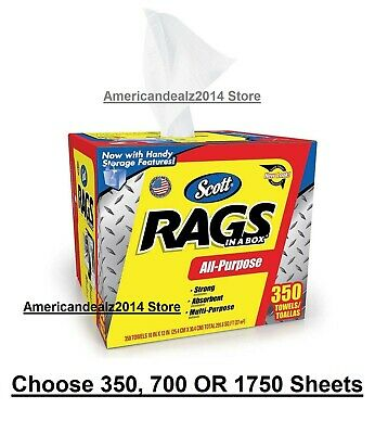 Scott Shop Rags In A Box 350 Sheets, 700 Sheets, 1750 Sheets- Strong and Durable