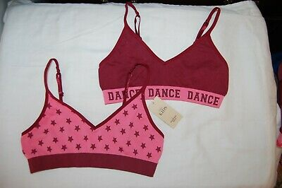 M&S 2 Seamfree Bras  Crop Tops Geranium Mix Age 12-14 Years BNWT