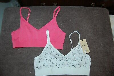 M&S 2 Crop Tops Seam Free Bras 1 Unicorns 1 Pink Age 12-14 Years BNWT