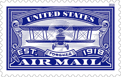 2018 50c United States Air Mail, Blue, Forever Scott 5281 Mint F/VF NH