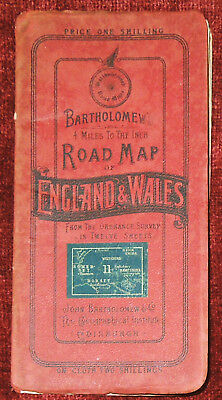 "BARTHOLOMEW'S 1"":4 MILES PAPER MAP OF CARDIFF,HENLEY,CHICHESTER,SIDMOUTH c. 1920"