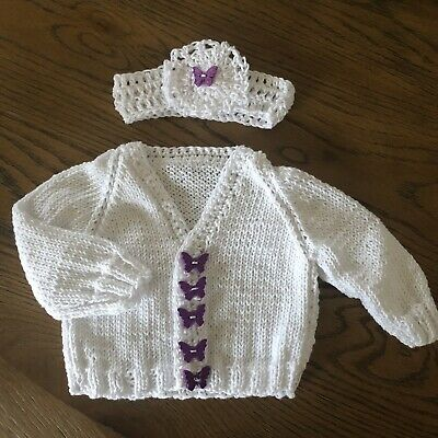 Hand Knitted Baby Girl's White Butterfly Cardigan & Headband Set 0-3 Months