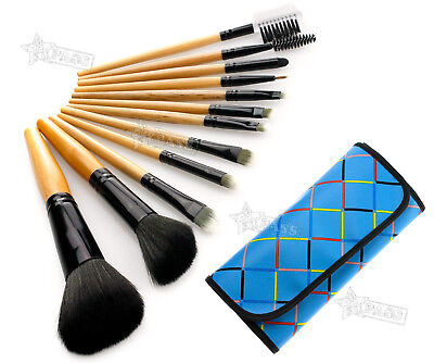 12pcs professional Cosmetic Make Up Brush with blue bag case