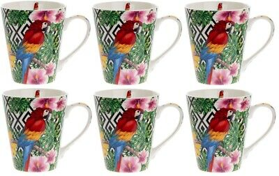 Leonardo Collection Set of 6 Fine China LARGE Mugs Wildlife Macaw Parrot Red