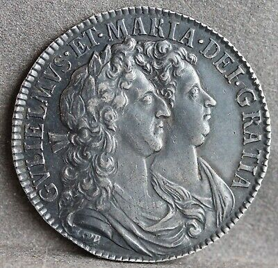 William & Mary Half Crown, 1689. 1st Shield. Caul Only Frosted, Pearls. ESC 841