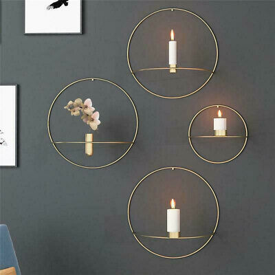 3D Andlestick Wall Mounted Candle Holder Mental Geometric Tea Light Home Decor