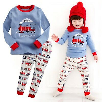 "Vaenait Baby Toddler Kids Boys Clothes Sleepwear Pajama Set ""T.Train"" S(2T)"