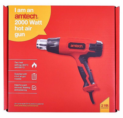 HEAVY DUTY 2000W HOT AIR HEAT GUN WALLPAPER STRIPPER & TOOLS 2 HEAT SETTINGS uk