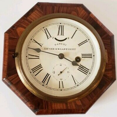 Antique Working 1850 Chauncey Jerome & Co. Marine Lever Gallery Ships Wall Clock