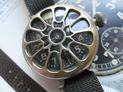 Unusual Antique 1910's Men's Ingersol Wrist Radiolite Wire Lug Trench Watch