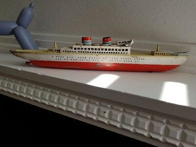 vintage ANTIQUE Arnold Tinplate boat 1950s. 42cm long. Made in West Germany