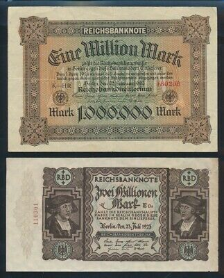 Germany: Weimar Republic 1923 1 & 2 Million Mark. Pick 86a & 89a Cat VF $67