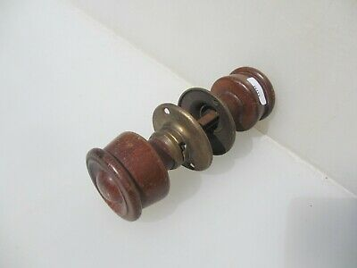 Victorian Wooden Door Knobs Handles Antique Old Tulip Art Nouveau Brass Plates