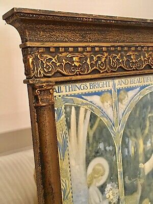 Arts & Crafts Decorated Gold Wood Frame With Print By Margaret Tarrant C1930