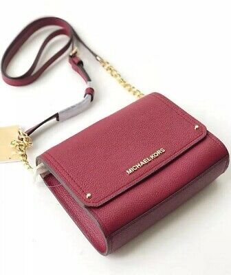 9f4c5c3270a3 Michael Kors HAYES Pebbled Leather SM Clutch Crossbody Bag MULBERRY  228 NWT