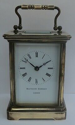 Nice Vintage Matthew Norman 8-Day Carriage Clock C/w Key