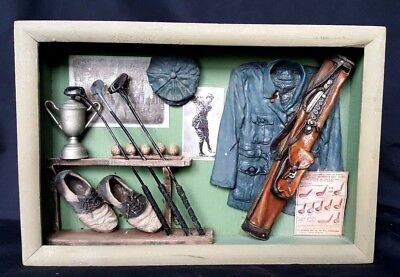 Vintage Wall Mount Decor Golf Themed Opened Shadow Box