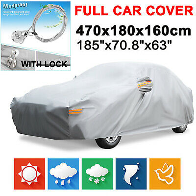 Heavy Duty Full Car Cover Cotton Waterproof Rain Dust UV Resistant For Mazda 3 6