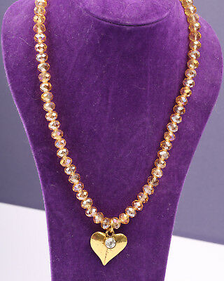 Pale Orange Crystal Necklace with Gold Tone Heart